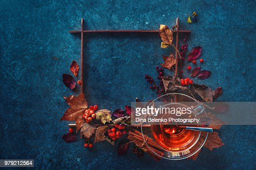 Autumn Hot Tea With A Glass Tea Cup On A Stone Background