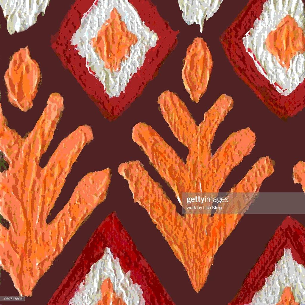 Autumn Ikat Posterized Painting : Stock-Foto
