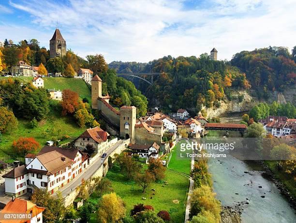 autumn in fribourg, switzerland - フリブール州 ストックフォトと画像