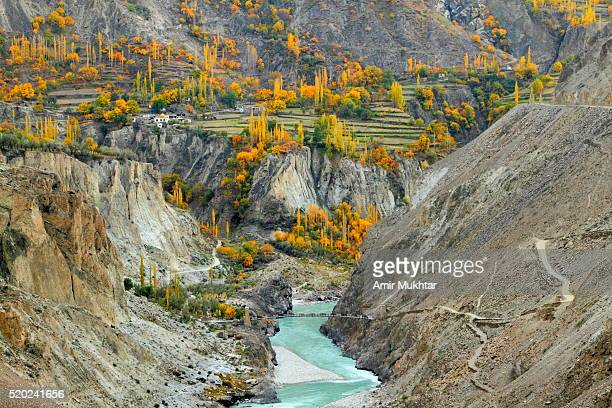 autumn in gilgit and hunza and river indus - gilgit baltistan stock photos and pictures