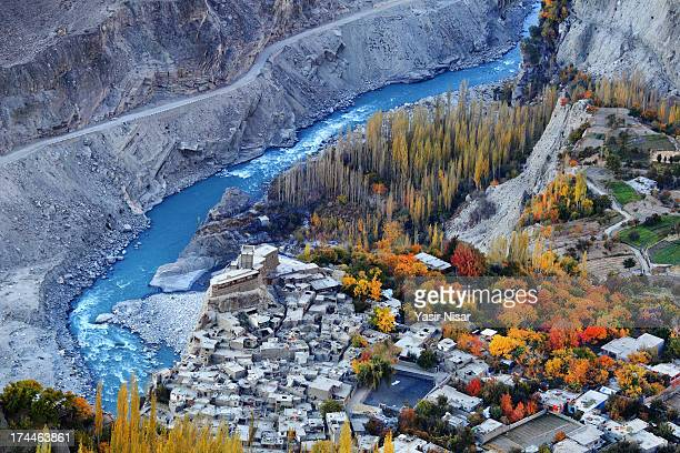 autumn in hunza - hunza valley stock pictures, royalty-free photos & images
