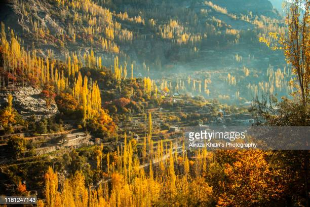 autumn in hunza valley - gilgit baltistan stock pictures, royalty-free photos & images