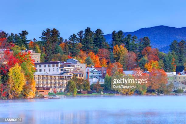 autumn in lake placid, new york - lake placid stock pictures, royalty-free photos & images