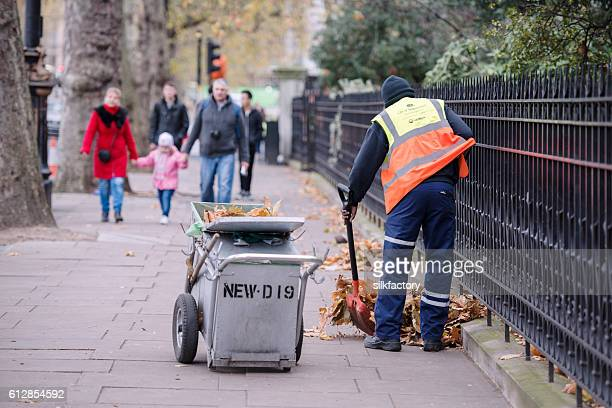 autumn in london - street sweeper stock pictures, royalty-free photos & images