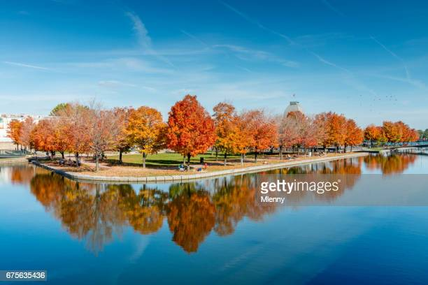 autumn in montreal basin bonsecours quebec canada - reflection pool stock pictures, royalty-free photos & images