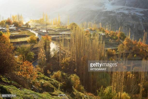autumn in pakistan - gilgit baltistan stock photos and pictures