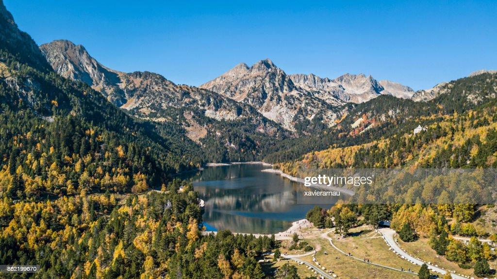 Autumn in Sant Maurici lake, Pyrenees, Catalonia, Spain : Stock Photo