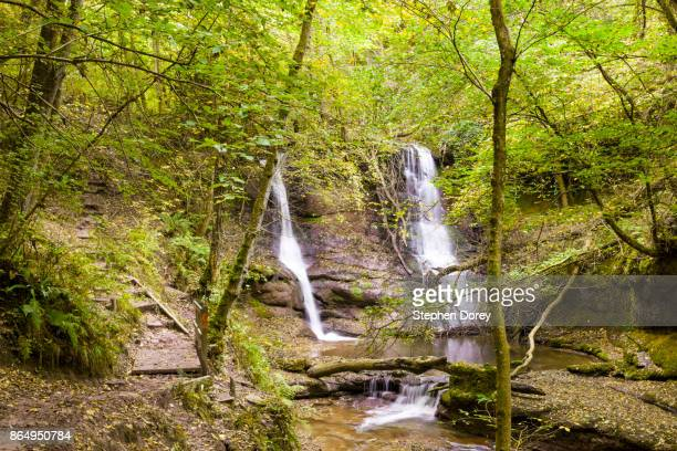 Autumn in the Brecon Beacons - The waterfall in the Pwll Y Wrach Nature Reserve, Wales UK
