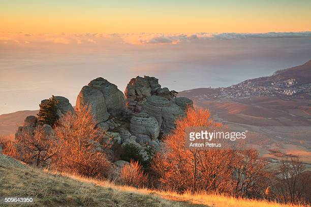 Autumn in the mountains at dawn
