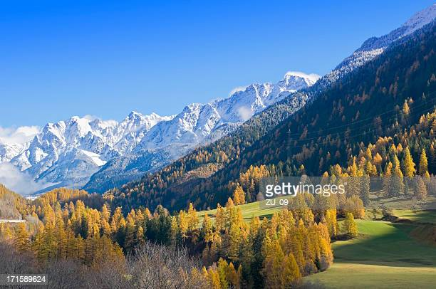 autumn in the swiss mountains, near davos - davos stock pictures, royalty-free photos & images