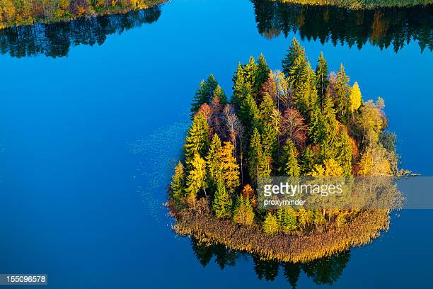 Autumn island in Lake