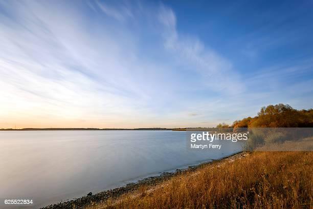 Autumn lake sunset at Grafham Water, Cambridgeshire, East Anglia, UK