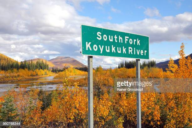 Autumn Landscape and Road sign