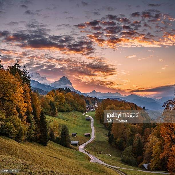 Autumn Landscape and Sunset, Upper Bavaria, Germany, Europe