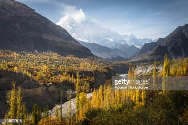autumn landscape of hunza valley, karakoram range, pakistan - hunza valley stock pictures, royalty-free photos & images