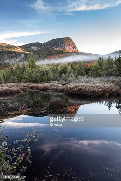 autumn landscape reflection on lake, quebec, canada - quebec stock pictures, royalty-free photos & images