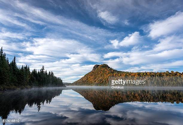Autumn Landscape Reflection on Lake, Quebec, Canada