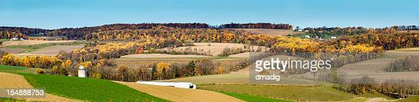 Autumn Landscape with Gently Rolling Hills in the Country