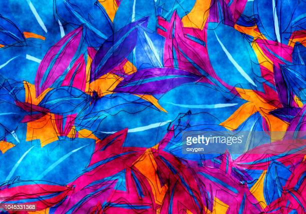 autumn leaves abstract background in red, blue and yellow colors - 花柄 ストックフォトと画像