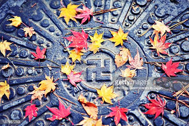 autumn manhole cover - hirosaki stock pictures, royalty-free photos & images