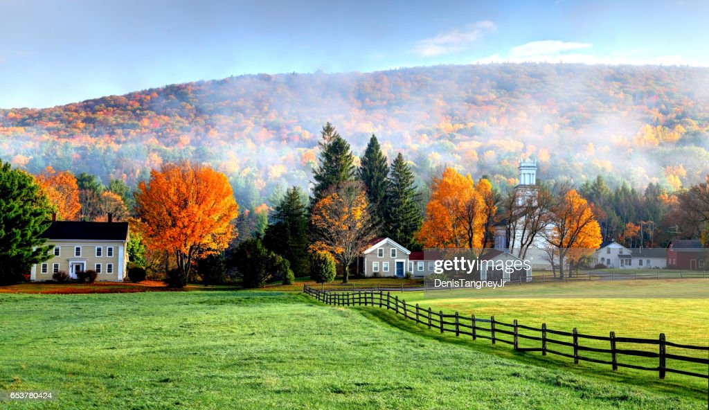 Autumn mist in the village of Tyringham in the Berkshires : Stock Photo