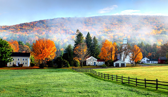Autumn mist in the village of Tyringham in the Berkshires 653780424