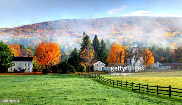 autumn mist in the village of tyringham in the berkshires - massachusetts stock pictures, royalty-free photos & images