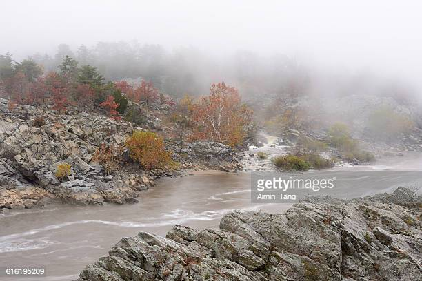 autumn morning at great falls national park - fairfax county virginia stock photos and pictures