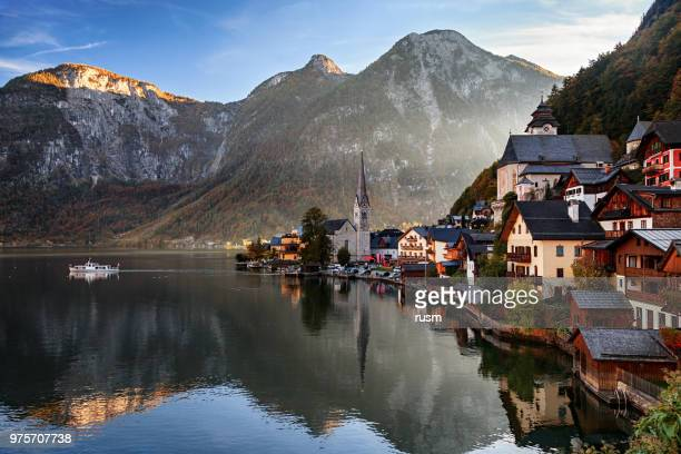 autumn morning view of hallstatt in salzkammergut, austria - hallstatter see stock pictures, royalty-free photos & images