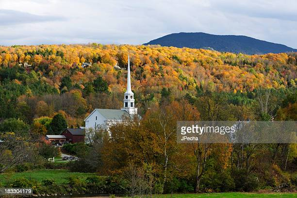 Autumn New England Scenic with White Steeple