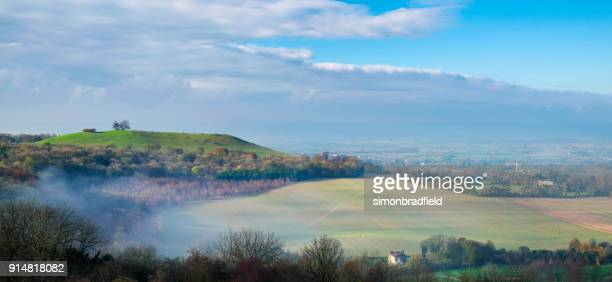 autumn on coombe hill in the chilterns, buckinghamshire - buckinghamshire stock pictures, royalty-free photos & images