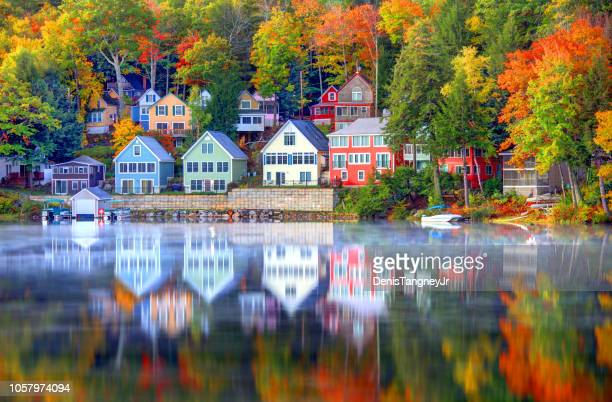 autumn on lake winnipesaukee in new hampshire - new england usa stock pictures, royalty-free photos & images