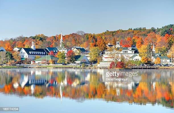 autumn on lake winnipesaukee - new hampshire stock pictures, royalty-free photos & images