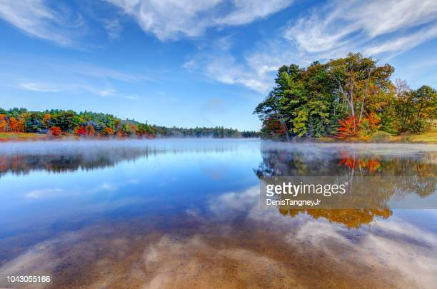 autumn on norway pond in hancock, new hampshire - four seasons stock pictures, royalty-free photos & images
