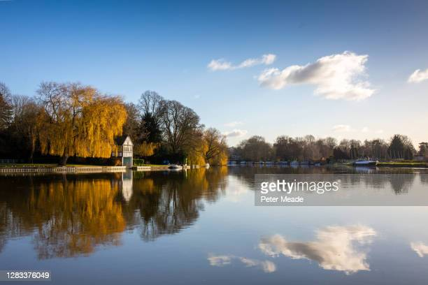 autumn on the river thames - berkshire england stock pictures, royalty-free photos & images