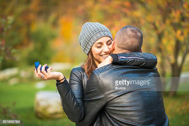 Autumn outdoor wedding proposal engagement