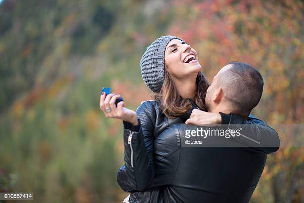 autumn outdoor wedding proposal engagement - engagement ring box stock photos and pictures