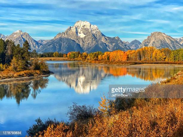 autumn oxbow color reflection morning - named wilderness area stock pictures, royalty-free photos & images