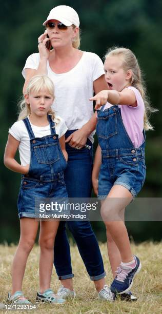 Autumn Phillips and daughters Isla Phillips and Savannah Phillips attend day 1 of the 2019 Festival of British Eventing at Gatcombe Park on August 2...