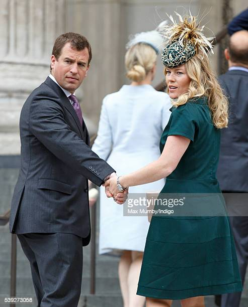 Autumn Phillips and Peter Phillips attend a national service of thanksgiving to mark Queen Elizabeth II's 90th birthday at St Paul's Cathedral on...