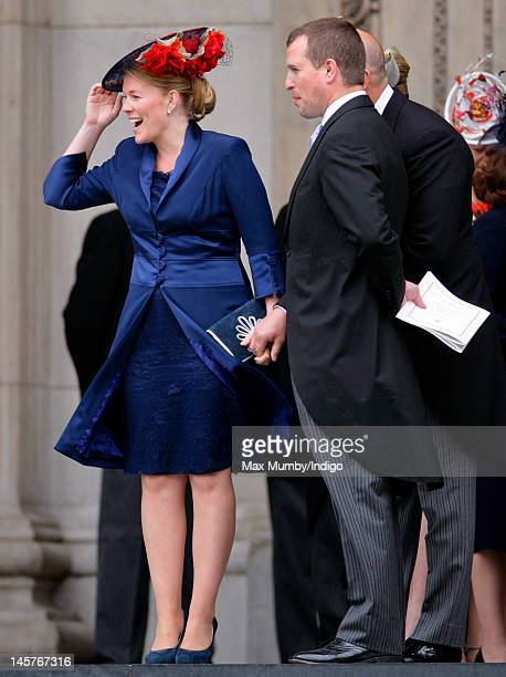 Autumn Phillips and Peter Phillips attend a Service of Thanksgiving to celebrate Queen Elizabeth II's Diamond Jubilee at St Paul's Cathedral on June...