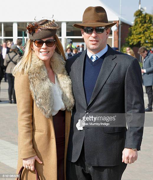 Autumn Phillips and Peter Phillips attend day 3 St Patrick's Day of the Cheltenham Festival on March 17 2016 in Cheltenham England
