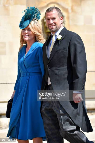 Autumn Phillips and Peter Phillips attend the wedding of Prince Harry to Ms Meghan Markle at St George's Chapel Windsor Castle on May 19 2018 in...