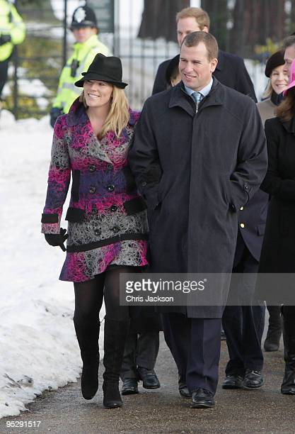 Autumn Phillips and Peter Phillips leave the Christmas Day service at Sandringham Church on December 25, 2009 in King's Lynn, England. The Royal...