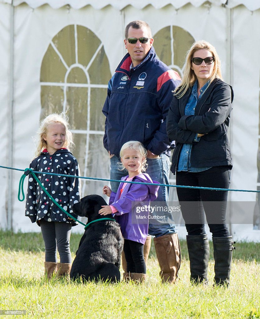 Autumn Phillips and Peter Phillips with Savannah Phillips and Isla Phillips attend the Whatley Manor International Horse Trials at Gatcombe Park on September 12, 2015 in Stroud, England.