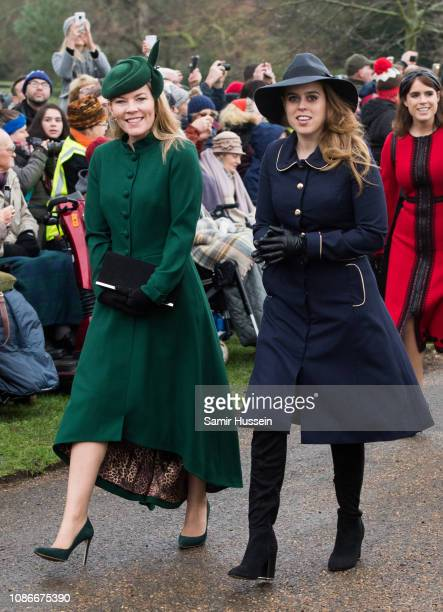 Autumn Phillips and Princess Beatrice of York attend Christmas Day Church service at Church of St Mary Magdalene on the Sandringham estate on...