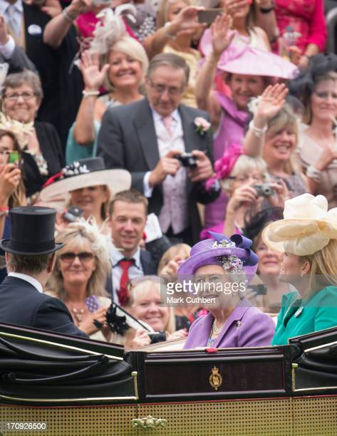 Autumn Phillips and Queen Elizabeth II attend Ladies Day on Day 3 of Royal Ascot at Ascot Racecourse on June 20 2013 in Ascot England