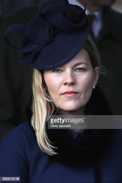 Autumn Phillips attends a Christmas Day church service at Sandringham on December 25 2016 in King's Lynn England