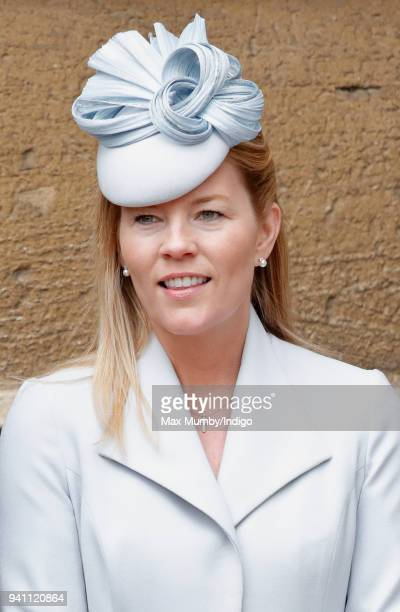 Autumn Phillips attends the traditional Easter Sunday church service at St George's Chapel Windsor Castle on April 1 2018 in Windsor England