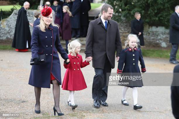 Autumn Phillips Isla Phillips Peter Philips and Savannah Phillips attend Christmas Day Church service at Church of St Mary Magdalene on December 25...